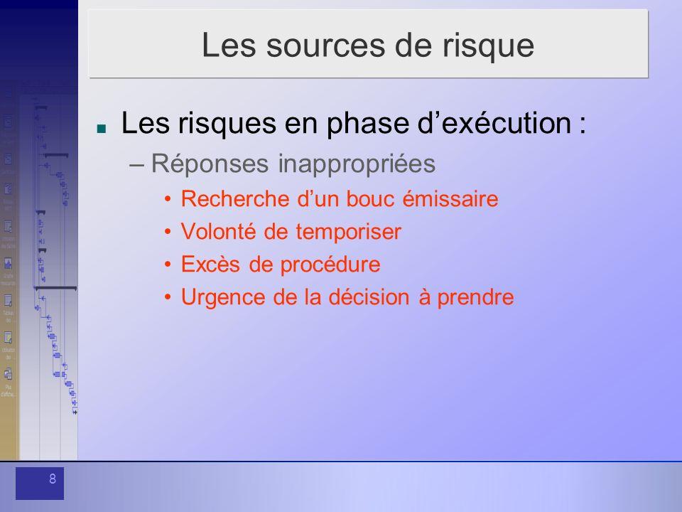 8 Les sources de risque Les risques en phase dexécution : –Réponses inappropriées Recherche dun bouc émissaire Volonté de temporiser Excès de procédur