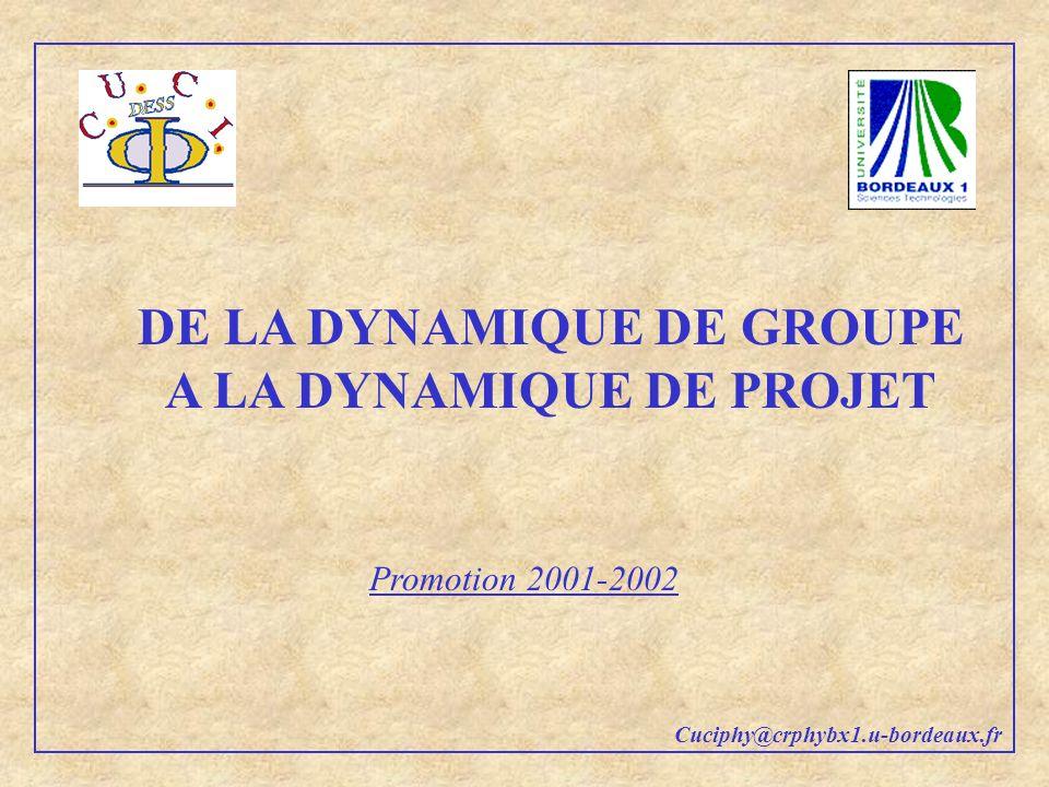 DE LA DYNAMIQUE DE GROUPE A LA DYNAMIQUE DE PROJET Promotion 2001-2002 Cuciphy@crphybx1.u-bordeaux.fr