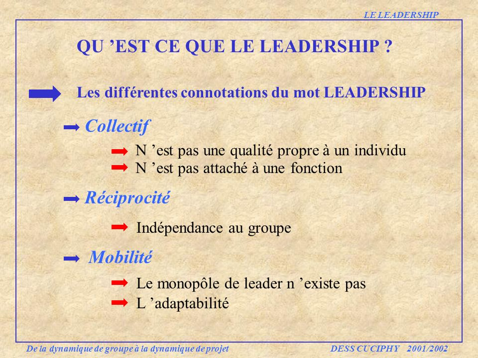 Mobilité Réciprocité Collectif QU EST CE QUE LE LEADERSHIP ? Les différentes connotations du mot LEADERSHIP N est pas une qualité propre à un individu