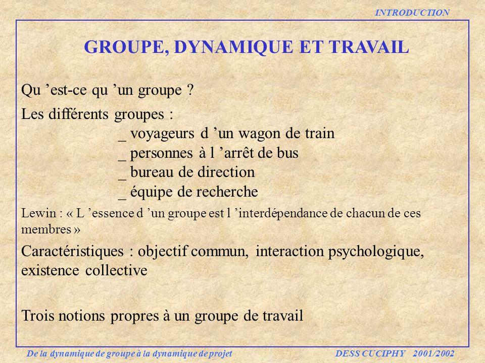 INTRODUCTION GROUPE, DYNAMIQUE ET TRAVAIL De la dynamique de groupe à la dynamique de projet DESS CUCIPHY 2001/2002 Qu est-ce qu un groupe ? Les diffé