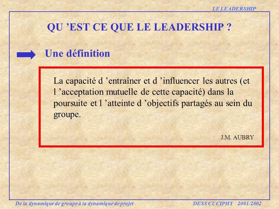 QU EST CE QUE LE LEADERSHIP ? Une définition La capacité d entraîner et d influencer les autres (et l acceptation mutuelle de cette capacité) dans la