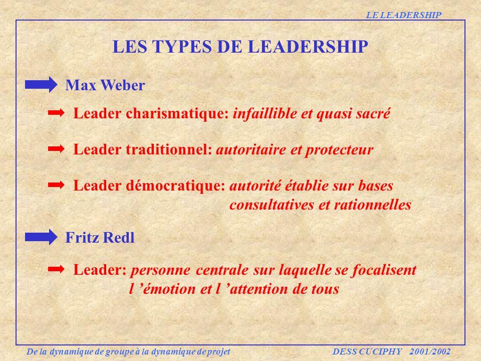 LES TYPES DE LEADERSHIP Max Weber LE LEADERSHIP Leader charismatique: infaillible et quasi sacré Leader traditionnel: autoritaire et protecteur Leader