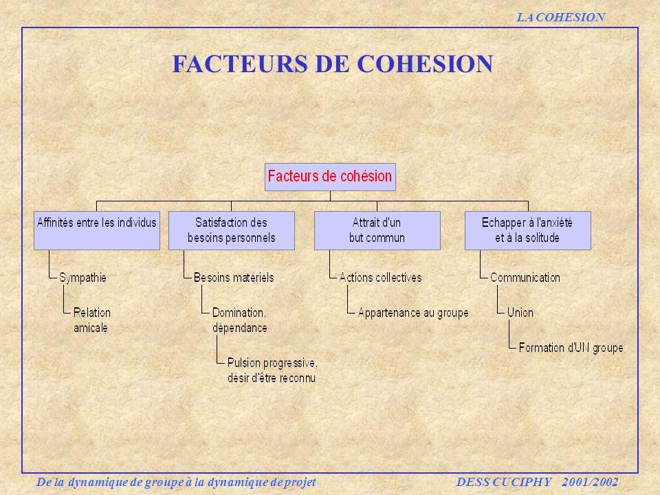 FACTEURS DE COHESION De la dynamique de groupe à la dynamique de projet DESS CUCIPHY 2001/2002 LA COHESION