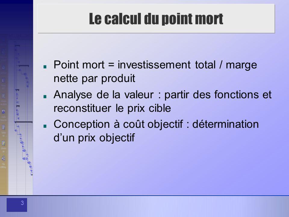 3 Le calcul du point mort Point mort = investissement total / marge nette par produit Analyse de la valeur : partir des fonctions et reconstituer le prix cible Conception à coût objectif : détermination dun prix objectif