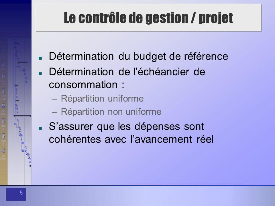 5 Le contrôle de gestion / projet Détermination du budget de référence Détermination de léchéancier de consommation : –Répartition uniforme –Répartition non uniforme Sassurer que les dépenses sont cohérentes avec lavancement réel