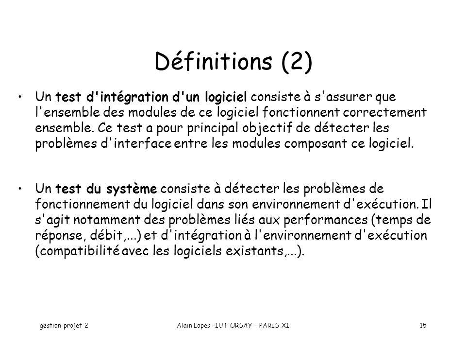 gestion projet 2Alain Lopes -IUT ORSAY - PARIS XI15 Un test d'intégration d'un logiciel consiste à s'assurer que l'ensemble des modules de ce logiciel