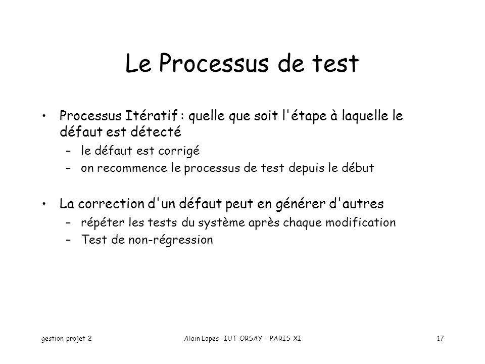 gestion projet 2Alain Lopes -IUT ORSAY - PARIS XI17 Le Processus de test Processus Itératif : quelle que soit l'étape à laquelle le défaut est détecté
