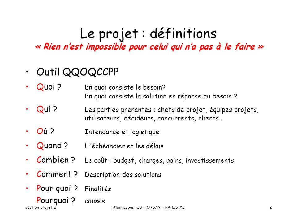 gestion projet 2Alain Lopes -IUT ORSAY - PARIS XI2 « Rien nest impossible pour celui qui na pas à le faire » Le projet : définitions « Rien nest impos