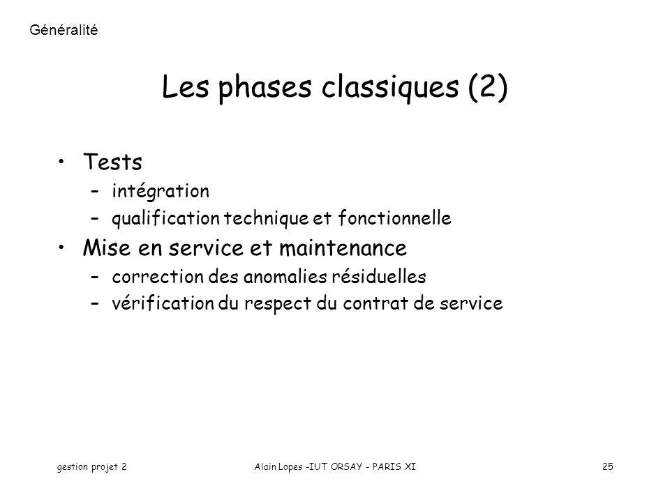 gestion projet 2Alain Lopes -IUT ORSAY - PARIS XI25 Les phases classiques (2) Tests –intégration –qualification technique et fonctionnelle Mise en ser