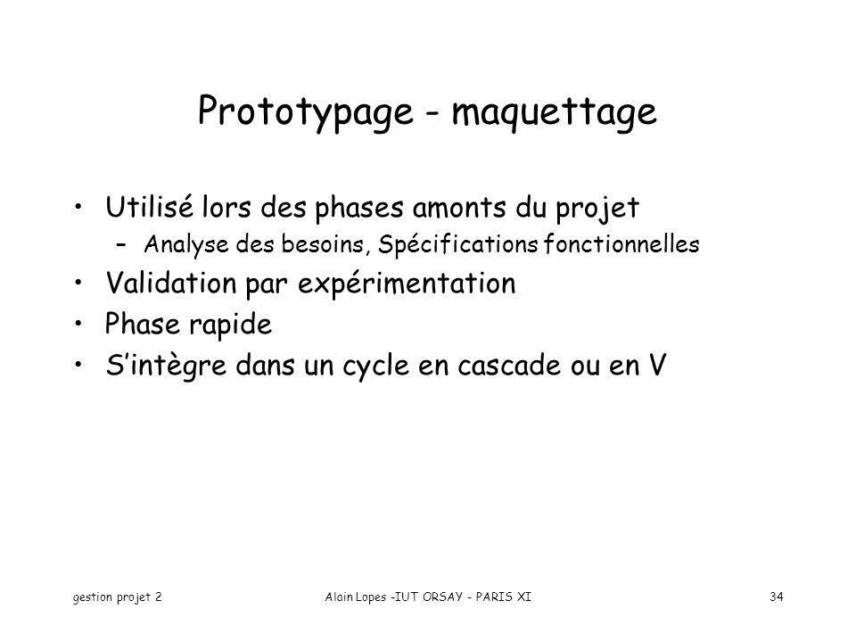gestion projet 2Alain Lopes -IUT ORSAY - PARIS XI34 Prototypage - maquettage Utilisé lors des phases amonts du projet –Analyse des besoins, Spécificat