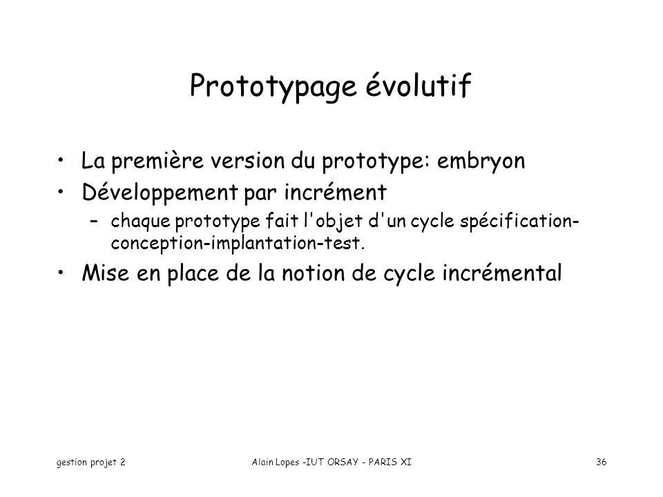 gestion projet 2Alain Lopes -IUT ORSAY - PARIS XI36 Prototypage évolutif La première version du prototype: embryon Développement par incrément –chaque