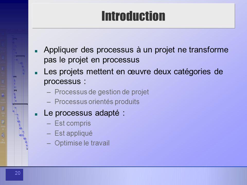 20 Introduction Appliquer des processus à un projet ne transforme pas le projet en processus Les projets mettent en œuvre deux catégories de processus