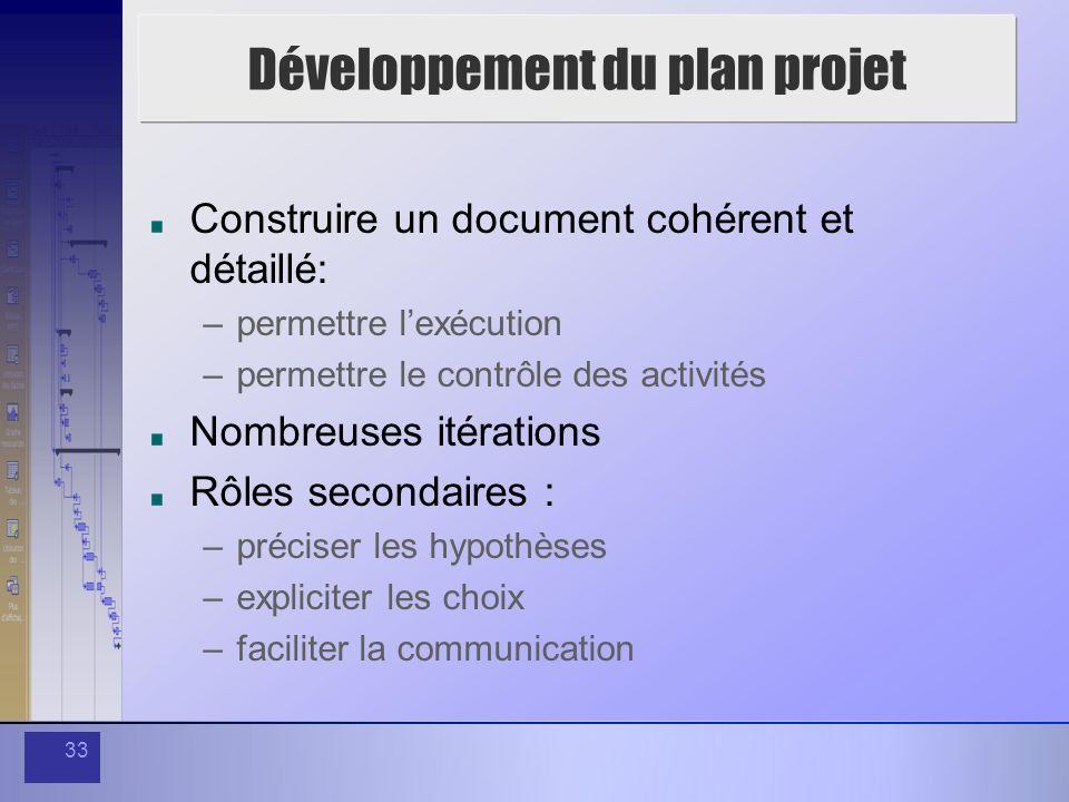 33 Développement du plan projet Construire un document cohérent et détaillé: –permettre lexécution –permettre le contrôle des activités Nombreuses ité