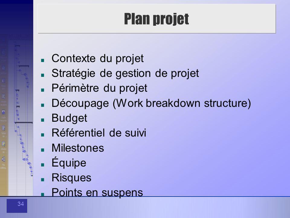34 Plan projet Contexte du projet Stratégie de gestion de projet Périmètre du projet Découpage (Work breakdown structure) Budget Référentiel de suivi