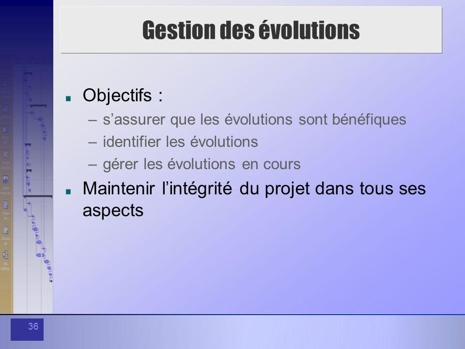 36 Gestion des évolutions Objectifs : –sassurer que les évolutions sont bénéfiques –identifier les évolutions –gérer les évolutions en cours Maintenir