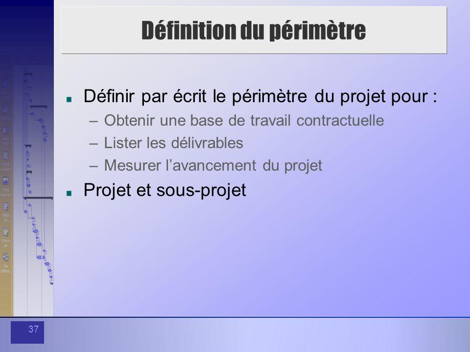 37 Définition du périmètre Définir par écrit le périmètre du projet pour : –Obtenir une base de travail contractuelle –Lister les délivrables –Mesurer