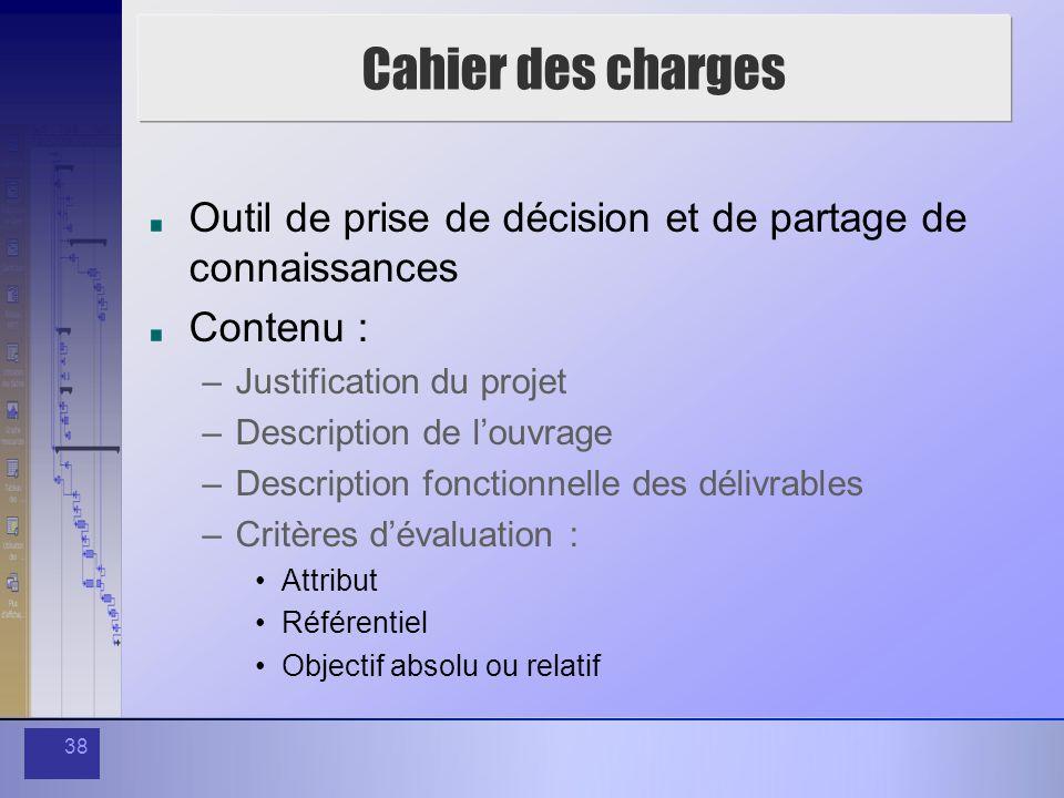 38 Cahier des charges Outil de prise de décision et de partage de connaissances Contenu : –Justification du projet –Description de louvrage –Descripti