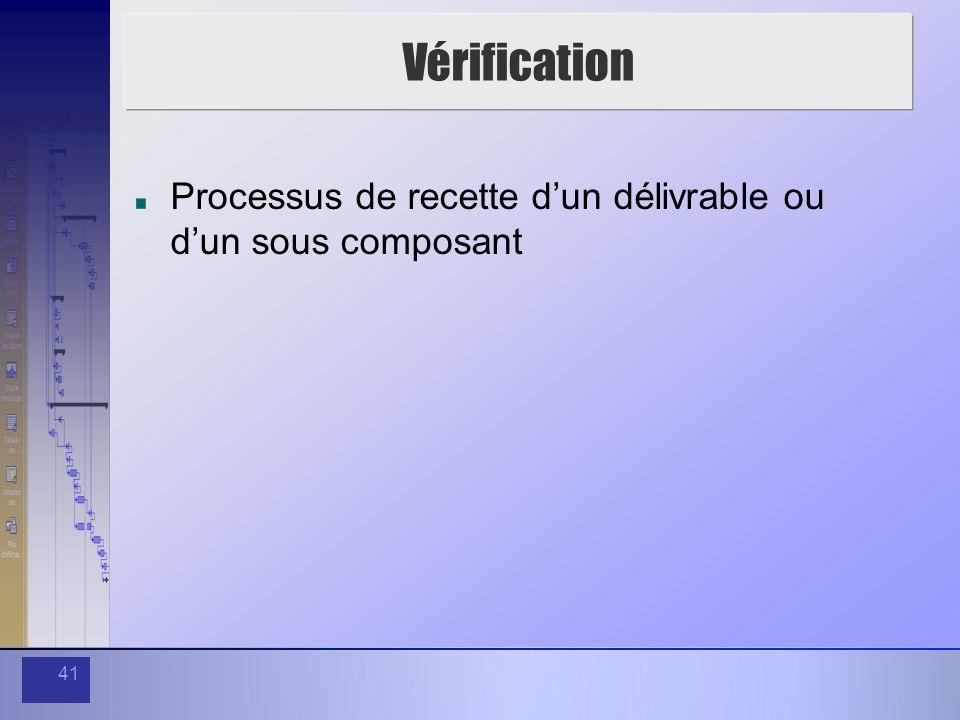 41 Vérification Processus de recette dun délivrable ou dun sous composant