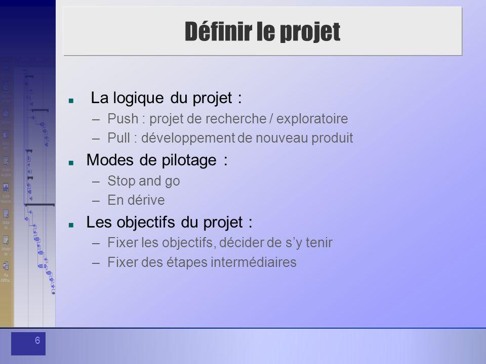 6 Définir le projet La logique du projet : –Push : projet de recherche / exploratoire –Pull : développement de nouveau produit Modes de pilotage : –St