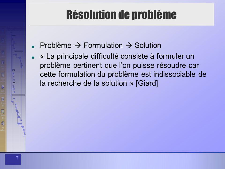 7 Résolution de problème Problème Formulation Solution « La principale difficulté consiste à formuler un problème pertinent que lon puisse résoudre ca