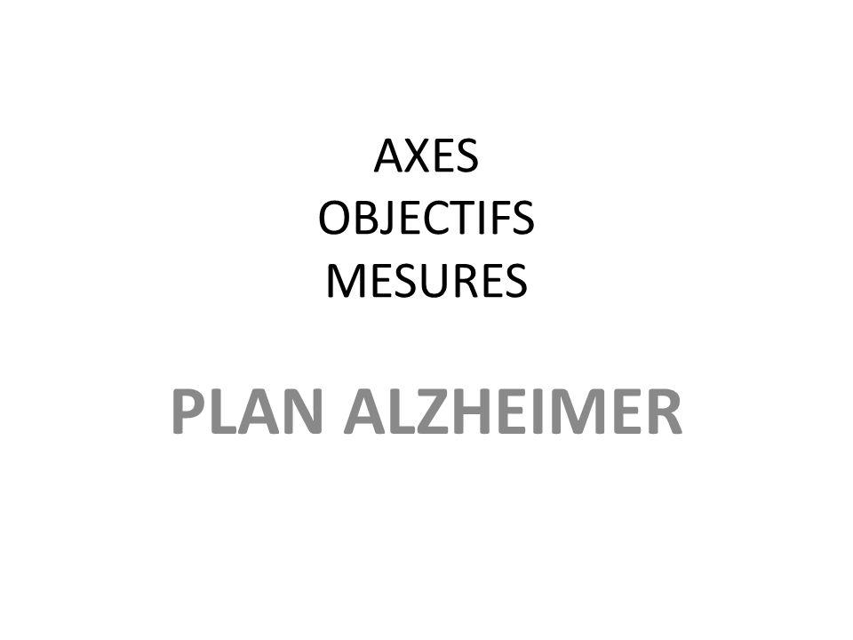 AXES OBJECTIFS MESURES PLAN ALZHEIMER