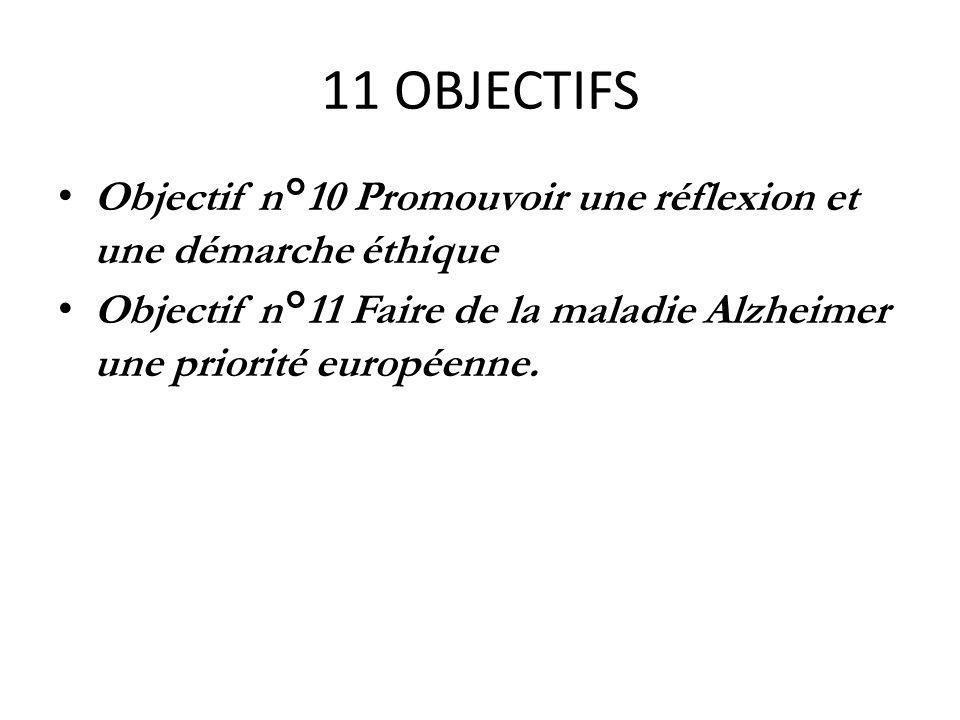 11 OBJECTIFS Objectif n°10 Promouvoir une réflexion et une démarche éthique Objectif n°11 Faire de la maladie Alzheimer une priorité européenne.