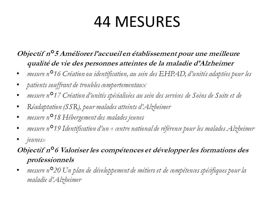 44 MESURES Objectif n°5 Améliorer laccueil en établissement pour une meilleure qualité de vie des personnes atteintes de la maladie dAlzheimer mesure