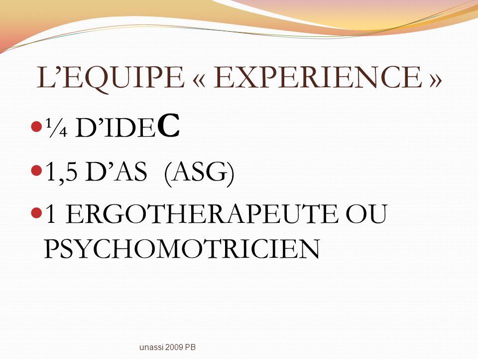 LEQUIPE « EXPERIENCE » ¼ DIDE C 1,5 DAS (ASG) 1 ERGOTHERAPEUTE OU PSYCHOMOTRICIEN unassi 2009 PB