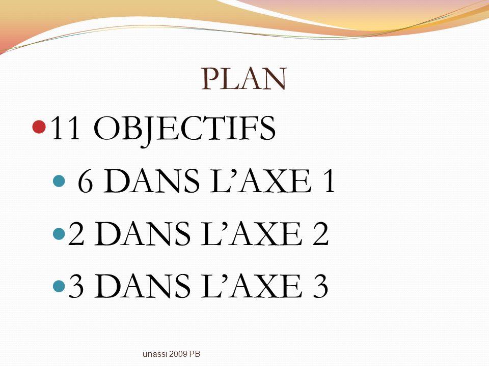 PLAN 11 OBJECTIFS 6 DANS LAXE 1 2 DANS LAXE 2 3 DANS LAXE 3 unassi 2009 PB