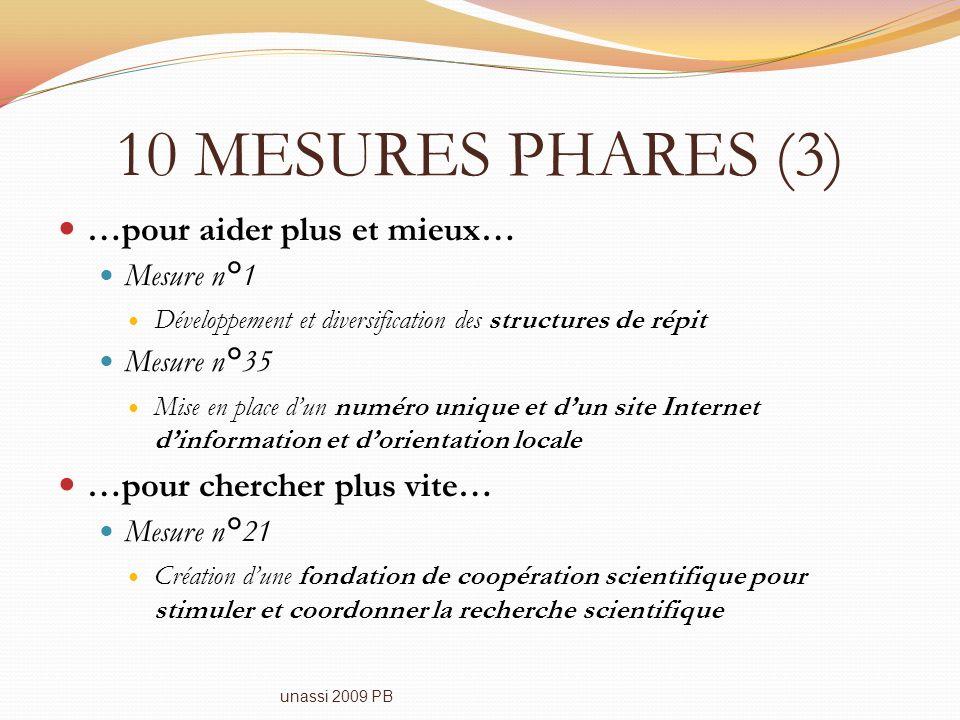 10 MESURES PHARES (3) …pour aider plus et mieux… Mesure n°1 Développement et diversification des structures de répit Mesure n°35 Mise en place dun num