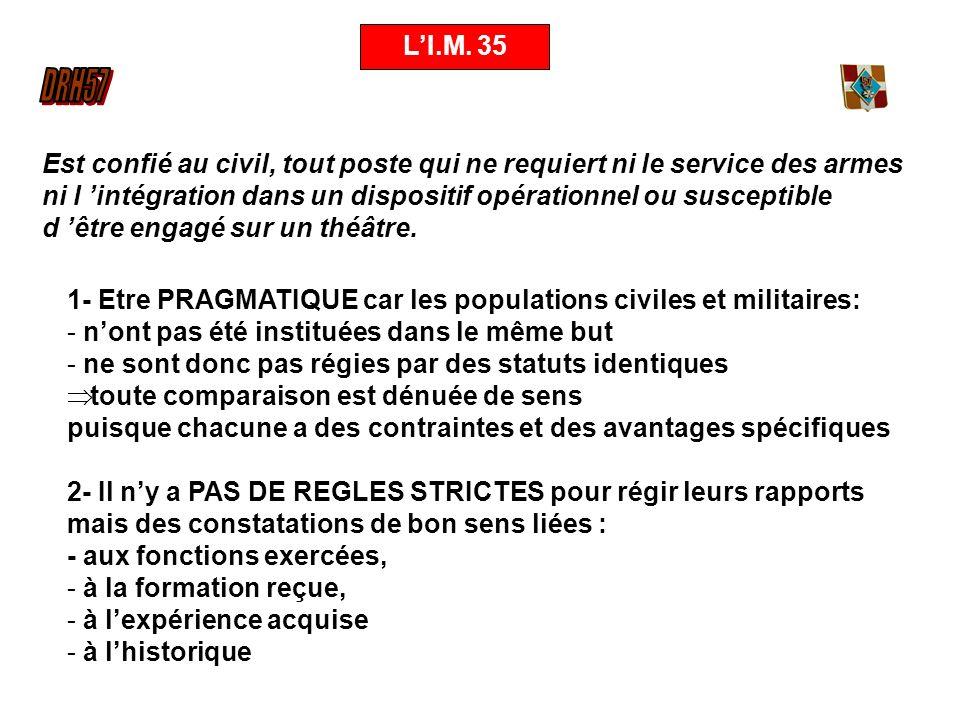 LI.M. 35 1- Etre PRAGMATIQUE car les populations civiles et militaires: - nont pas été instituées dans le même but - ne sont donc pas régies par des s