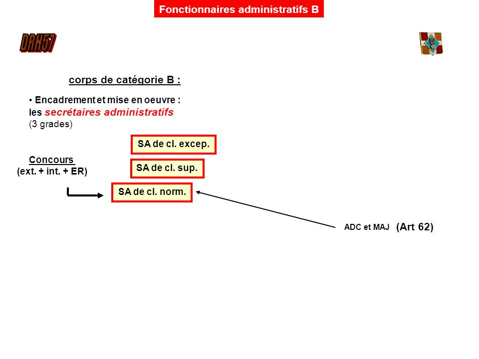 Fonctionnaires administratifs B corps de catégorie B : Encadrement et mise en oeuvre : les secrétaires administratifs (3 grades) SA de cl. norm. SA de