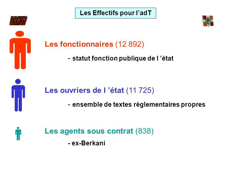 Les Effectifs pour ladT Les fonctionnaires (12 892) - statut fonction publique de l état Les ouvriers de l état (11 725) - ensemble de textes règlemen