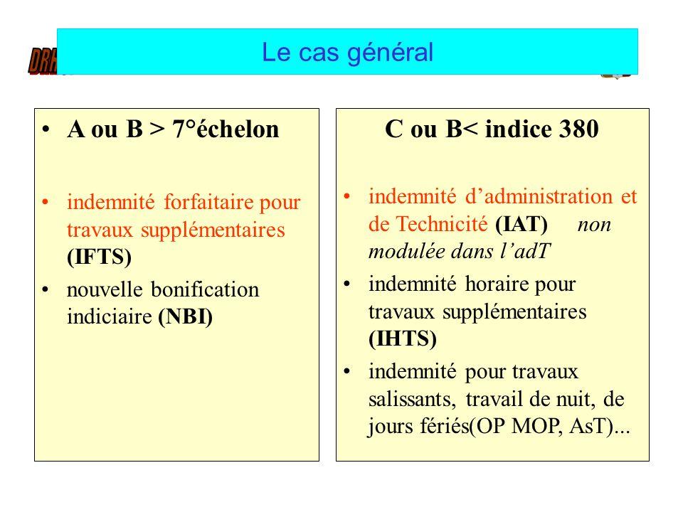 Le cas général A ou B > 7°échelon indemnité forfaitaire pour travaux supplémentaires (IFTS) nouvelle bonification indiciaire (NBI) C ou B< indice 380