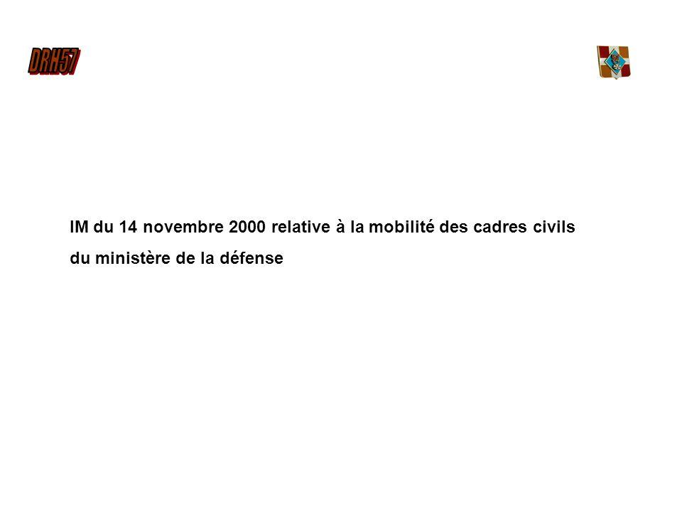 IM du 14 novembre 2000 relative à la mobilité des cadres civils du ministère de la défense
