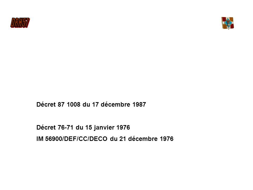 Décret 87 1008 du 17 décembre 1987 Décret 76-71 du 15 janvier 1976 IM 56900/DEF/CC/DECO du 21 décembre 1976