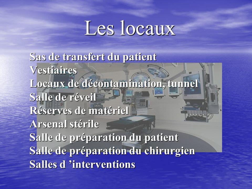 Les locaux Sas de transfert du patient Vestiaires Locaux de décontamination, tunnel Salle de réveil Réserves de matériel Arsenal stérile Salle de préparation du patient Salle de préparation du chirurgien Salles d interventions
