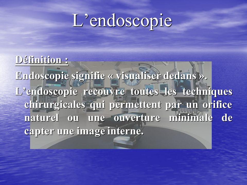 Lendoscopie Définition : Endoscopie signifie « visualiser dedans ».
