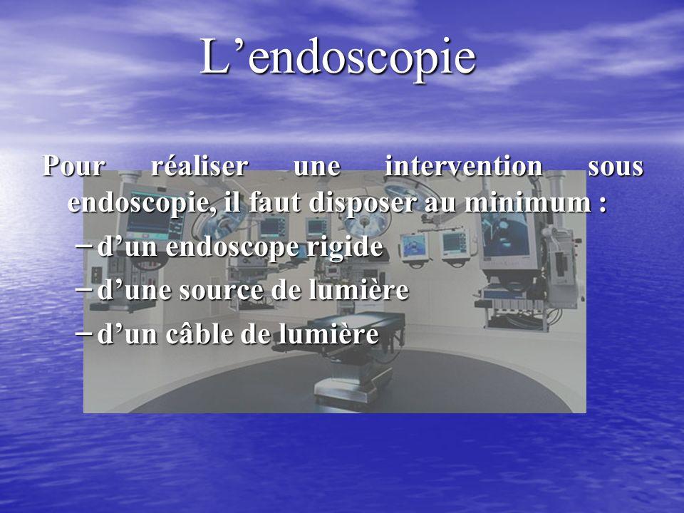 Lendoscopie Pour réaliser une intervention sous endoscopie, il faut disposer au minimum : – dun endoscope rigide – dune source de lumière – dun câble de lumière