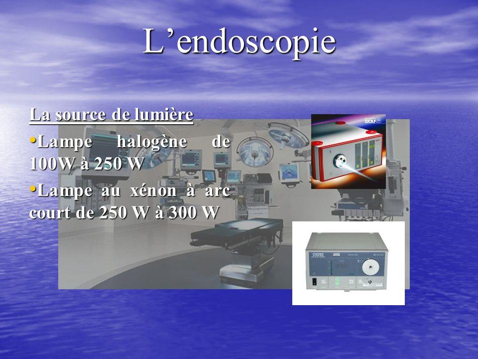 Lendoscopie La source de lumière Lampe halogène de 100W à 250 W Lampe halogène de 100W à 250 W Lampe au xénon à arc court de 250 W à 300 W Lampe au xénon à arc court de 250 W à 300 W