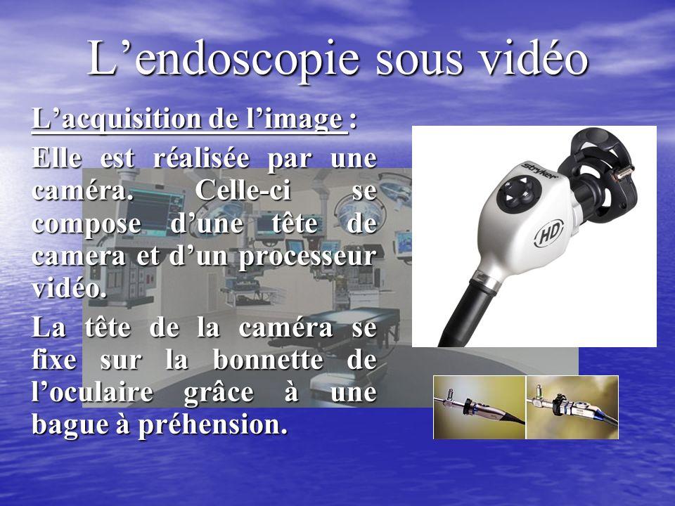 Lendoscopie sous vidéo Lacquisition de limage : Elle est réalisée par une caméra.