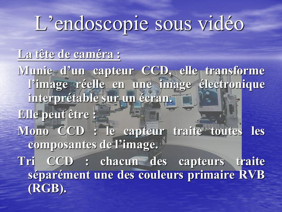 Lendoscopie sous vidéo La tête de caméra : Munie dun capteur CCD, elle transforme limage réelle en une image électronique interprétable sur un écran.