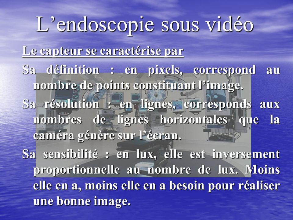 Lendoscopie sous vidéo Le capteur se caractérise par Sa définition : en pixels, correspond au nombre de points constituant limage.