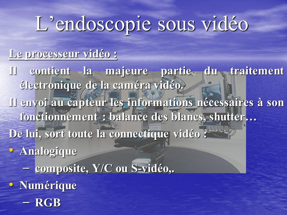 Lendoscopie sous vidéo Le processeur vidéo : Il contient la majeure partie du traitement électronique de la caméra vidéo.