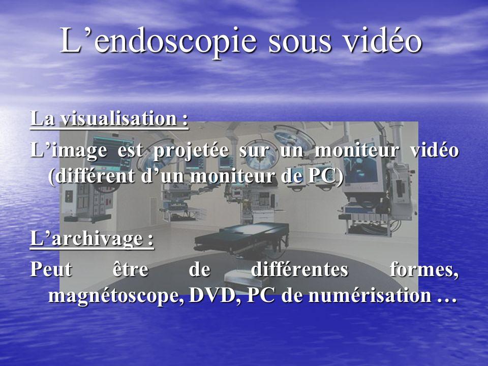 Lendoscopie sous vidéo La visualisation : Limage est projetée sur un moniteur vidéo (différent dun moniteur de PC) Larchivage : Peut être de différentes formes, magnétoscope, DVD, PC de numérisation …