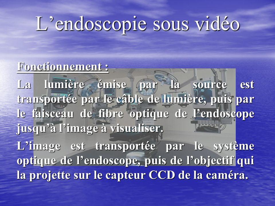 Lendoscopie sous vidéo Fonctionnement : La lumière émise par la source est transportée par le câble de lumière, puis par le faisceau de fibre optique de lendoscope jusquà limage à visualiser.