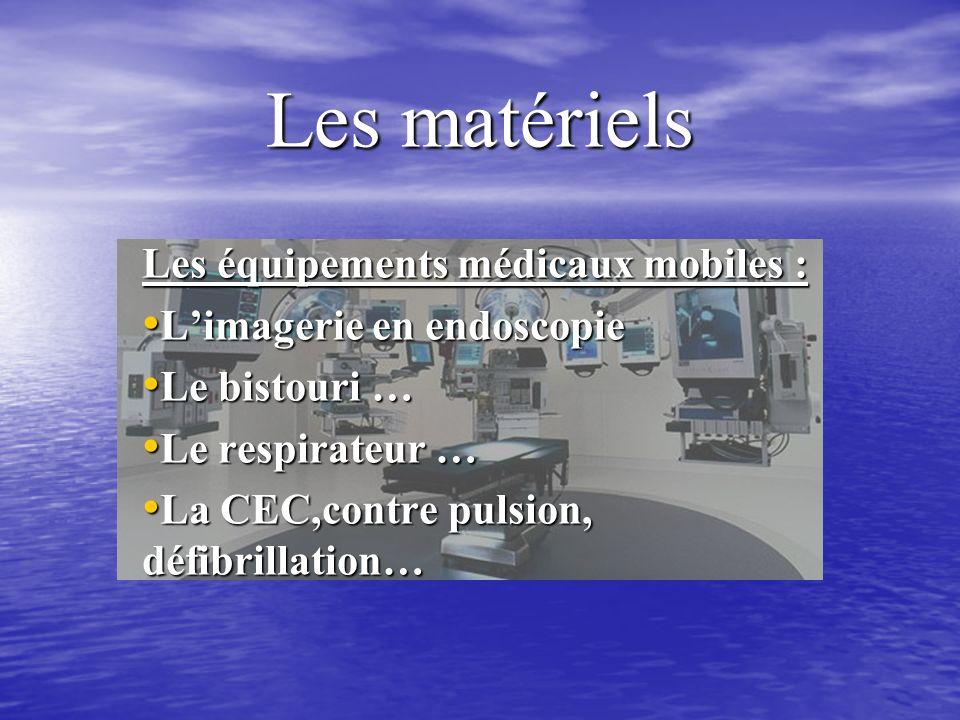 Les matériels Les équipements médicaux mobiles : Limagerie en endoscopie Limagerie en endoscopie Le bistouri … Le bistouri … Le respirateur … Le respirateur … La CEC,contre pulsion, défibrillation… La CEC,contre pulsion, défibrillation…
