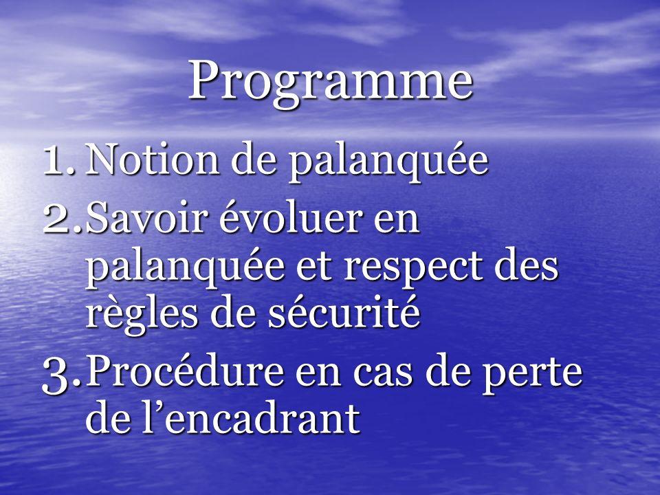 Programme 1. Notion de palanquée 2. Savoir évoluer en palanquée et respect des règles de sécurité 3. Procédure en cas de perte de lencadrant