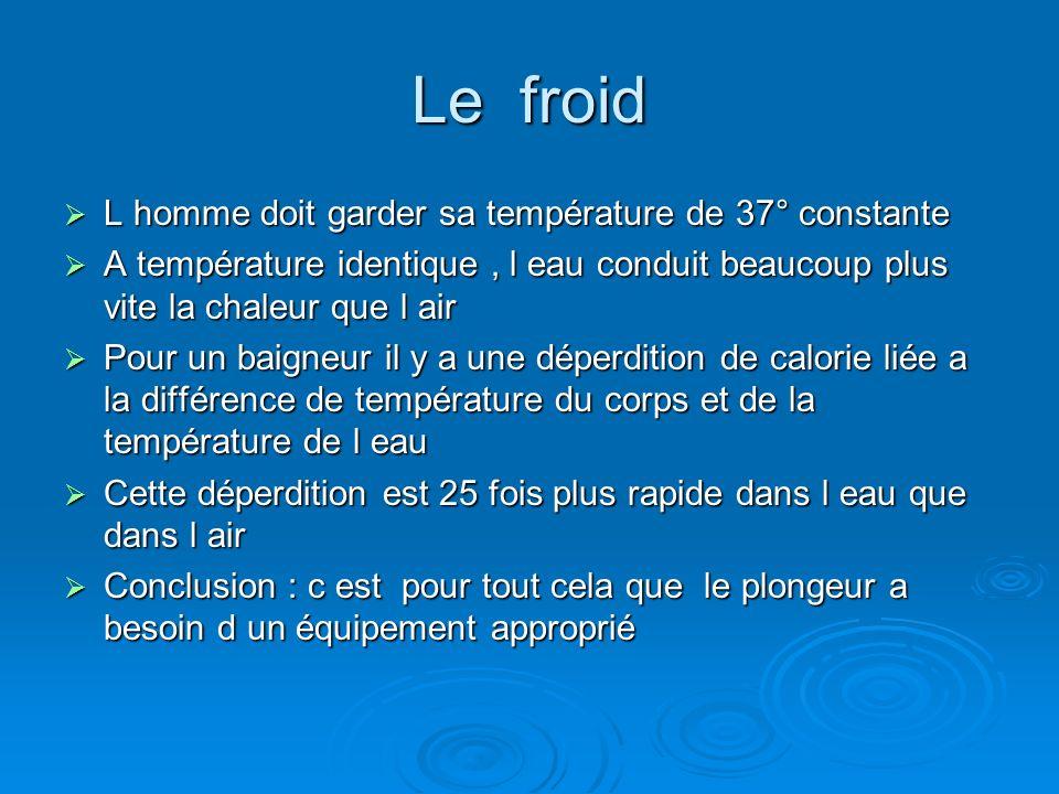Le froid L homme doit garder sa température de 37° constante L homme doit garder sa température de 37° constante A température identique, l eau condui