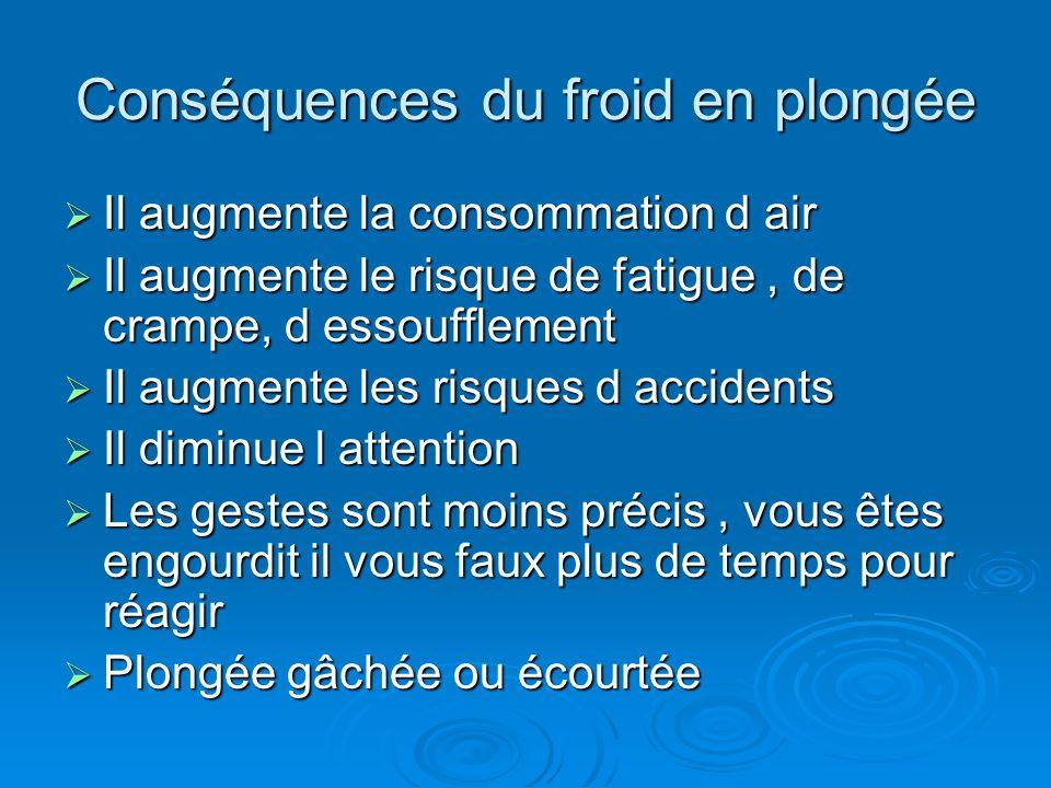 Conséquences du froid en plongée Il augmente la consommation d air Il augmente la consommation d air Il augmente le risque de fatigue, de crampe, d es